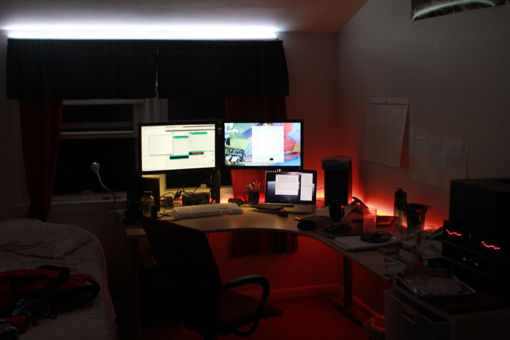 My desk, all lit up!